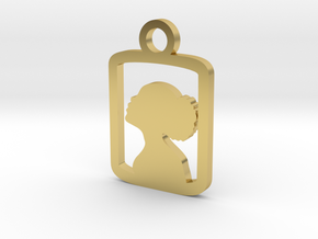 Lady in a box Charm in Polished Brass