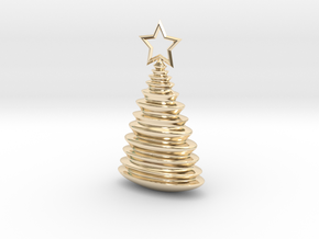 Holiday Tree Pendant in 14k Gold Plated Brass