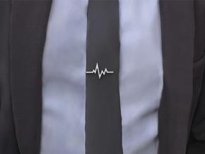 Heartbeat Tie Clip No.1 in Polished Nickel Steel