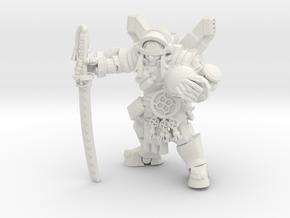 Cyber Samurai in White Natural Versatile Plastic
