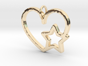 Heart and star  Pendant- Makom Jewelry in 14K Yellow Gold