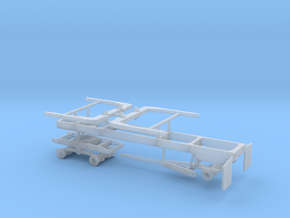 1/87th 20' log trailer, tandem axle front, angle  in Smooth Fine Detail Plastic