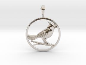 Cardinal Bird in Rhodium Plated Brass: Small