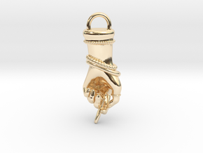 Jeweled Hand Charm and Pendant in 14K Yellow Gold
