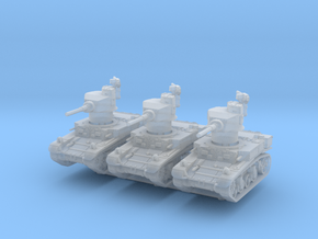 M3 Stuart mid (x3) 1/285 in Smooth Fine Detail Plastic