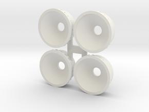 Aero wheel inserts as used on SCX 90 IMSA in White Natural Versatile Plastic