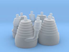 H-1 Engines (1:70 Outboards ONLY) in Smooth Fine Detail Plastic