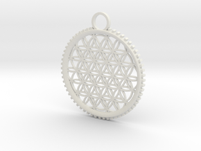 Tree of Life Pendant in White Natural Versatile Plastic