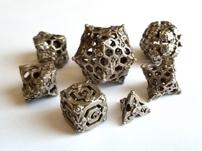 Bees Set Dice with D00 - Balanced in Polished Bronzed-Silver Steel