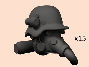 28mm dieselpunk shock troops heads  in Smoothest Fine Detail Plastic