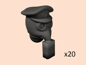 28mm WW1 rus gasmask+caps heads  in Smoothest Fine Detail Plastic