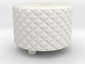 Med/Long Knurl Back Cap in White Natural Versatile Plastic