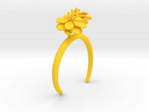 Anemone bracelet with two large flowers L in Yellow Processed Versatile Plastic: Medium