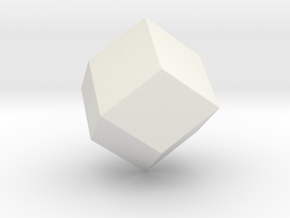 Rhombic Dodecahedron - 1 Inch - Rounded V1 in White Natural Versatile Plastic