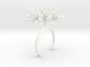 Cherry bracelet with four large flowers in White Processed Versatile Plastic: Medium