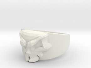 Skull Ring Size 10 in White Natural Versatile Plastic