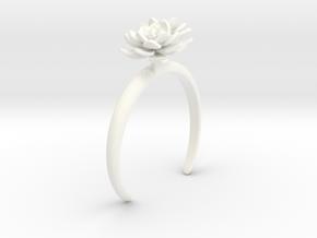 Lotus bracelet with two large flowers L in White Processed Versatile Plastic: Medium