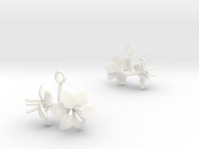 Amaryllis earring with two large flowers in White Processed Versatile Plastic