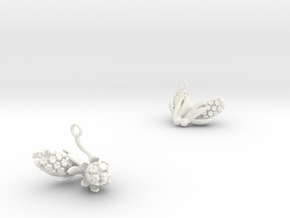 Hyacint earring with two large flowers in White Processed Versatile Plastic