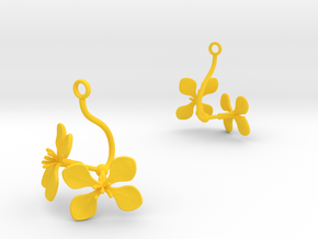 Radish earring with two large flowers in Yellow Processed Versatile Plastic