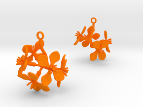 Radish earring with five large flowers in Orange Processed Versatile Plastic