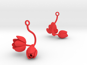Tulip earring with two large flowers in Red Processed Versatile Plastic