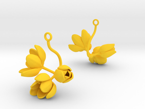 Tulip earring with three large flowers in Yellow Processed Versatile Plastic