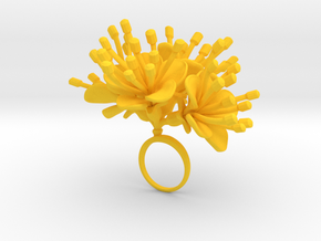 Cherry ring with four large flowers in Yellow Processed Versatile Plastic: 7.25 / 54.625
