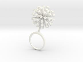 Garlic ring with one large closed flower in White Processed Versatile Plastic: 7.25 / 54.625
