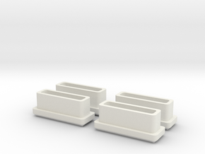 Four Bar stool leg caps (rectangle) in White Natural Versatile Plastic