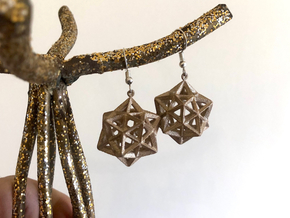 Dodecahedron Star Earrings in Polished Bronzed-Silver Steel