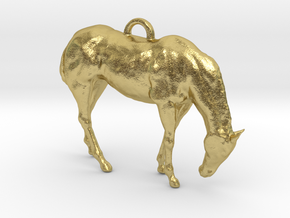 Horse Pendant in Natural Brass
