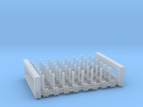 1/64 5 foot harrow sections x 6 pcs in Smooth Fine Detail Plastic