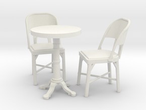 1:24 Cafe Table and Chair Set in White Natural Versatile Plastic