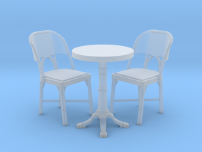 1:48 Cafe Table and Chair Set in Smooth Fine Detail Plastic