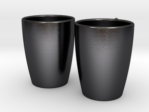 Coffee Cups His & Hers in Polished and Bronzed Black Steel