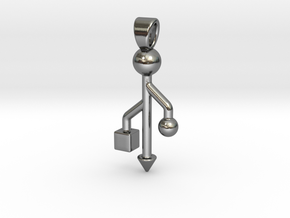 USB connected [pendant] in Polished Silver