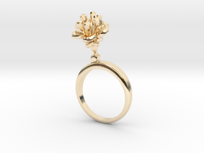Cherry ring with two small flowers R in 14k Gold Plated Brass: 5.75 / 50.875