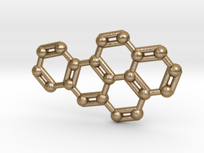 Benzo[a]pyrene Molecule Necklace Keychain in Polished Gold Steel