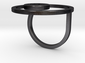 Lotus Within Ring in Polished and Bronzed Black Steel: 6.5 / 52.75