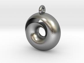 Split Torus pendant  in Natural Silver
