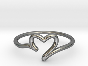 Valentine's heart ring in Polished Silver: 6 / 51.5