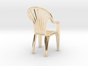 Plastic chair Pendant/miniature (37mm) in 14k Gold Plated Brass
