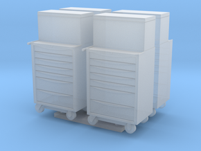 1:76 Scale Modern Toolboxes x4 in Smooth Fine Detail Plastic