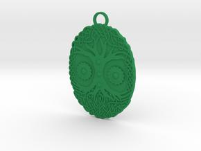 Celtic Tree Pendant in Green Processed Versatile Plastic