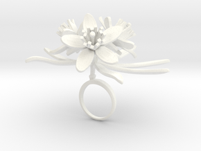 Choisya ring with three large flowers in White Processed Versatile Plastic: 7.25 / 54.625
