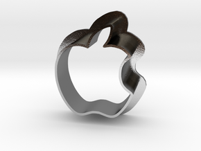 Apple Logo with bite in Polished Silver
