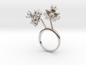 Anemone ring with two small flowers II L in Rhodium Plated Brass: 7.25 / 54.625