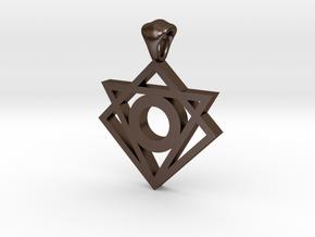 Iconic Symbol Pendant in Polished Bronze Steel