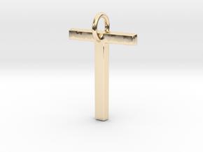 T Pendant- Makom Jewelry in 14k Gold Plated Brass